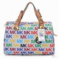 Michael Kors Grayson Logo Satchel White Colorful Women Handbags