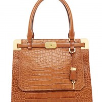 Michael Kors Bags Blake Crocodile-Embossed Satchel