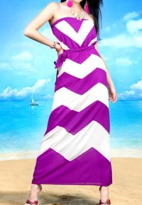 Zigzag Print Stretchy High-waisted Strapless Maxi Dress Beach from amazingmall on Storenvy