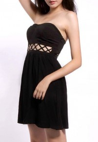 InvisiTree — [gh10079]Black Crisscross Cutout Strapless Padded Boob Tube Dress