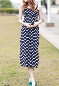 InvisiTree — [gh10082]Beach Zigzag Print High-waisted Spaghetti Strap Maxi Dress