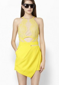 InvisiTree — [gh10139]Yellow Halterneck Cutout Lace See-through Romper Jumpsuit Shorts