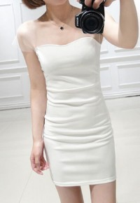 InvisiTree — [gh10086]Black/White Sheer Shoulder Strap Backless Wiggle Dress