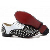 mens fred flat spikes louboutin red soles flat shoes black and white