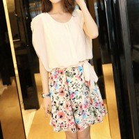 InvisiTree — [gh10131]Floral Print Skirt Butterfly Sleeve Belted Bodycon Dress
