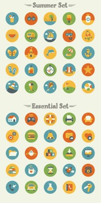 50 Vintage Flat Icon Set - FreebiesXpress