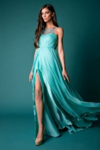 High Neck Sleeveless Chiffon Prom / Evening Dress With Appliques - ULOVEE