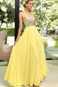 Sweetheart Chiffon Daffodil Long Beading Prom / Evening Dress - ULOVEE