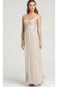 Simple Chiffon One Shoulder Ruched Long Bridesmaid Dress - ULOVEE