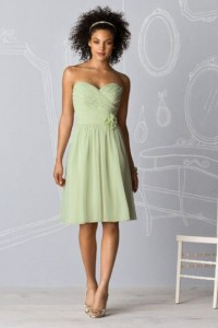 Chiffon Sweetheart Ruched Knee Length Green Bridesmaid Dress - ULOVEE