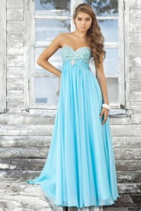 Soft Chiffon Strapless Beading Open Back A-line Prom Dress - ULOVEE