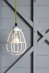 Industrial Modern Pendant - White Cage Light | Industrial Light Electric hand crafted lighting, made to order, Industrial Modern Lighting, Vintage Industrial Style Lights with a Modern Design