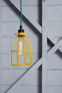 Industrial Pendant Lighting - Yellow Wire Cage Light | Industrial Light Electric hand crafted lighting, made to order, Industrial Modern Lighting, Vintage Industrial Style Lights with a Modern Design