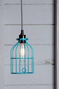 Industrial Pendant Lighting - Turquoise Blue Wire Cage Light | Industrial Light Electric hand crafted lighting, made to order, Industrial Modern Lighting, Vintage Industrial Style Lights with a Modern Design