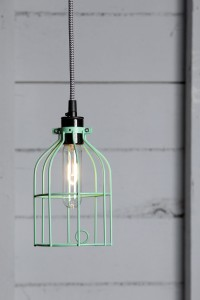 Industrial Pendant Lighting - Mint Green Wire Cage Light | Industrial Light Electric hand crafted lighting, made to order, Industrial Modern Lighting, Vintage Industrial Style Lights with a Modern Design
