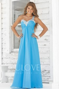 Beaded Ruched Sweetheart One Shoulder A-line Chiffon Prom Dress [FCLA308547] - USD$141.03 : Ulovee.com