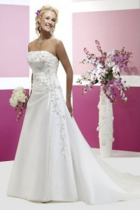 Satin Strapless A-line Court Train Draping Wedding Dress - ULOVEE