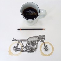 Drawing of Black & Tan cb550 from @cartercartier... |