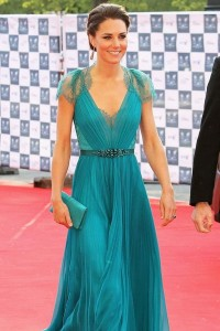 Kate Princess Beading V-neck Blue Chiffon Celebrity Dress [PPBE0687] - USD$199.46 : Ulovee.com