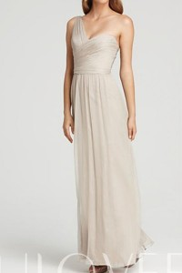Simple Ruched One Shoulder Chiffon Long A-line Formal Dress - ULOVEE