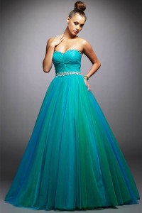 Pleated Beading Sweetheart Ball Gown Green Tulle Prom Dress [PPBE0726] - USD$139.03 : Ulovee.com