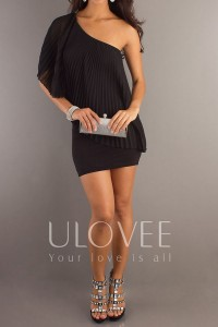Elegant Pleated One Shoulder Sheath Chiffon Little Black Dress [PHBC0249] - USD$98.99 : Ulovee.com