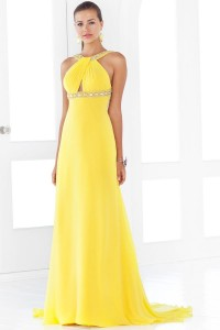 Open Back Beaded A-line Chiffon Prom Dress [FCLA308543] - USD$119.34 : Ulovee.com