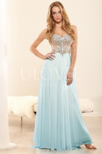 A-line Sweetheart Sleeveless Chiffon Formal / Evening Dress With Rhinestone - ULOVEE