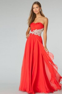 A-line Strapless Sleeveless Chiffon Formal / Evening Dress - ULOVEE