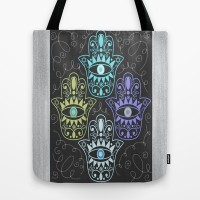 Hamsa Chalk Tote Bag by Nina May | Society6