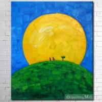 Near The Moon Hand Painted On Canvas Oil Painting [b30299] - $46.00 : Oilpaintingmall.com