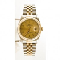 Amazon.com: Rolex Mens Datejust 16233 Steel & Gold Watch Champagne Stick Dial & Fluted Bezel: Watches