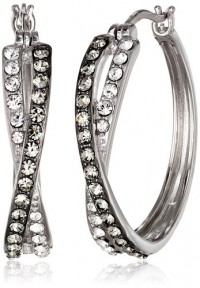 Amazon.com: Sterling Silver Black and White Swarovski Elements Crystal Crossover Hoop Earrings: Jewelry