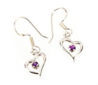 Sterling Silver Amethyst Heart Earrings by MidasCraft on Etsy