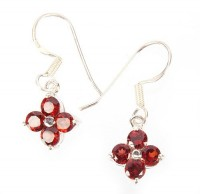 Sterling Silver Awesome Garnet Earrings by MidasCraft on Etsy