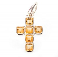 Citrine Cross Pendant by MidasCraft on Etsy