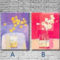 Abstract Flowers And Vase On Canvas Hand Painted Set Of Two [b30111] - $100.00 : Oilpaintingmall.com