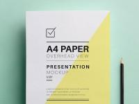 A4 Overhead Paper Mockup - FreebiesXpress
