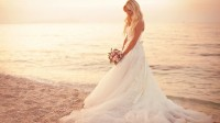 blondes women white models brides wedding dresses weddings sea beaches Wallpaper