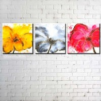 Hand Painted Three Colors Of Flowers Oil Painting Set Of 3 [b30294] - $190.00 : Oilpaintingmall.com