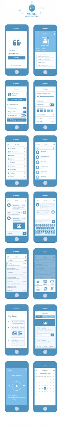 Mobile Wireframe Kit PSD › Wireframes | Inspiration DE
