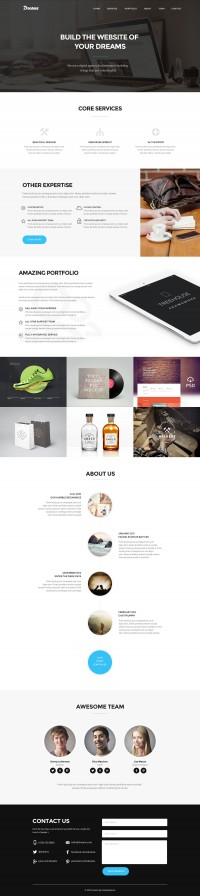 Dreams - Free One Page Web Template - FreebiesXpress