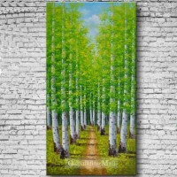 Oil Painting The White Birch Forest Hand-painted On Canvas [b30220] - $106.00 : Oilpaintingmall.com
