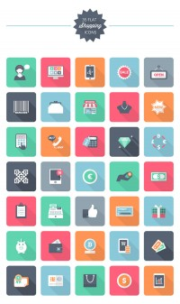 [Freebie] Flat Shopping Icon Pack: 35 Free Shopping Icons | InstantShift