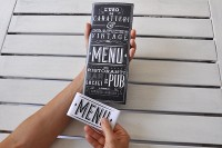 Menu, new vintage type and graphics on