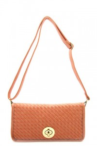 Olivia Taylor Woven Front Clutch Coral | Olivia Taylor