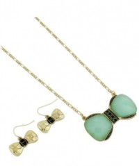 Mint Bow Necklace & Earrings Set by Olivia Taylor Fashion Boutique | Olivia Taylor