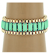 Turquoise & Gold Box Chain Bracelet by Olivia Taylor Fashion Boutique | Olivia Taylor