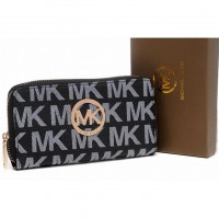 Michael Kors Monogram Wallet Continental Canvas Black Womens