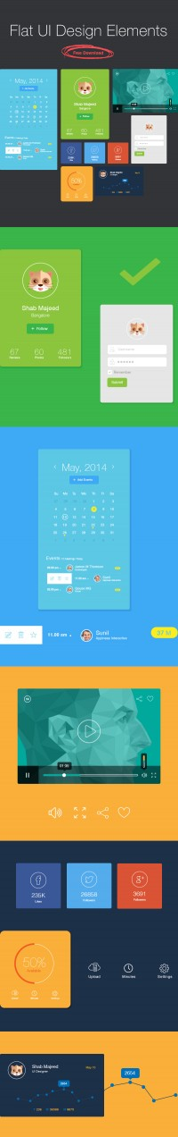 Flat UI Design Elements (Free Download) 2014 | uiconstock | Ui Kits + Icons